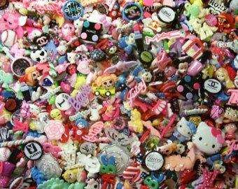 Assorted 25-100 pc. Childrens Grab Bag! Resin flat back, flatback ,cabochon, DiY, decoden, cell phone cases,hair bow centers, scrapbooks!