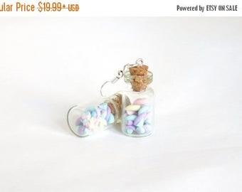 Marshmallows miniature bottles earrings - little bottles with polymer clay marshmallows