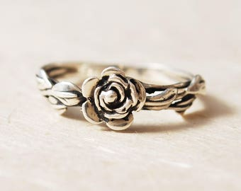 Unique Promise Ring For Her, Leaf Ring, Flower Ring, Rose Promise Ring, Silver Rose Ring, Ring For Girlfriend, Mothers Day Gift For Mom