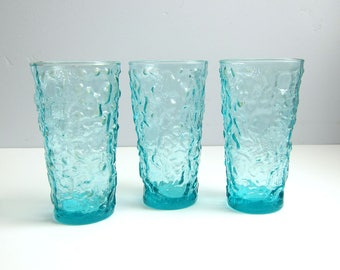Vintage Anchor Hocking Milano Aqua Blue 12 oz Tumbler Glasses - Set of 3