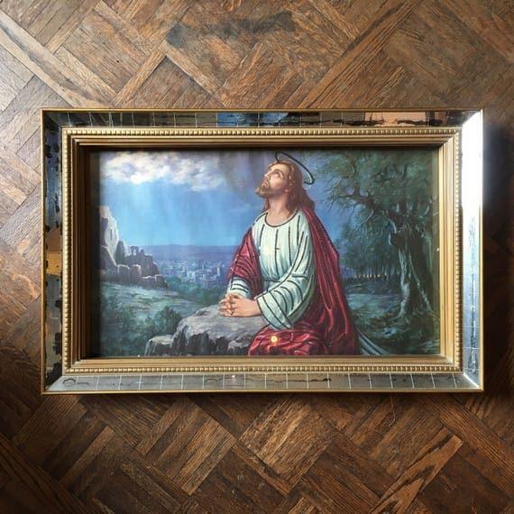 Vintage Jesus Framed Art, Midcentury Glitter Enhanced Jesus Print, Mirrored Gold Frame, Glory to the Highest