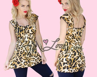 NWT Leopard Sexy Rockabilly Maternity Empire Babydoll Tunic Pinup Top Plus too!