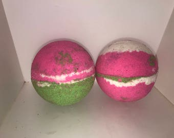 Fruity explosion scented jumbo 3 inch green and pink with white bath bomb, fruity tangy scent, big bubbly bath bomb, bath fizzy, fruity expl