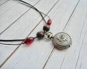 Leren halsketting bruin Steampunk Victoriaanse vintage zakhorloge halsketting dames sieraad handgemaakte sieraden sieraad trending items