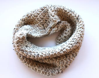 oatmeal infinity scarf, oatmeal cowl scarf, neutral crochet scarf, beige wool scarf, taupe knit scarf, crochet scarf, knit scarf, scarf