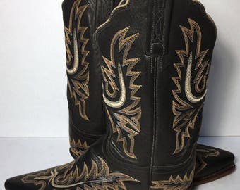 Lucchese 1883 Black Leather Western Cowgirl Cowboy Boots Women's Size 7