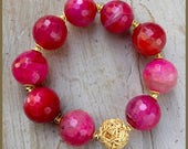 Pink Agate and Gold Plated Silver bracelet