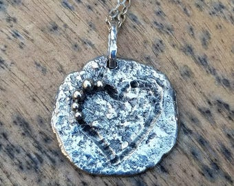 Rustic sterling silver heart pendant heart necklace sterling silver heart pendant love necklace unique one of a kind sterling silver pendant