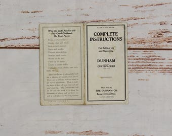 1920's Complete Instructions Dunham Culti-Packer Booklet