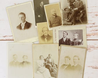 Lot of 9 Antique CVD Cabinet Card Photographs of Men Women Couples