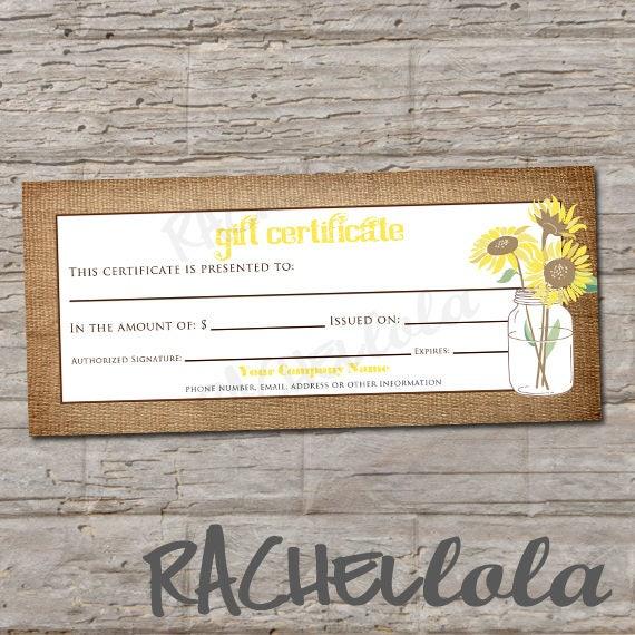 custom sunflower gift certificate printable rustic burlap