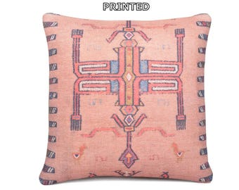 kilim pillow bohemian prints 20x20 tribal prints pink decorative pillow stripe throw pillow coral moroccan rug patterned kilim pillow 79-50