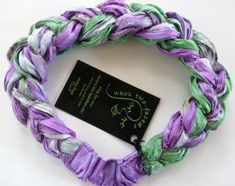 A soft springtime mix of lavender, mint, and silver shines in my Sari Silk Braided Headband! Comfortable and adjustable and upcycled chic!