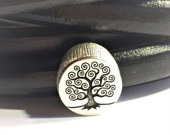 10mm Tree of Life Button Slider for leather bracelets, Antique Silver finding, jewelry making supplies,