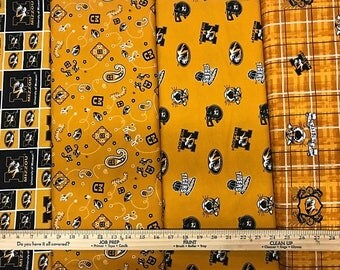 NCAA University of Missouri Tigers Gold & Black College Logo Cotton Fabric by Sykel! [Choose Your Cut Size]