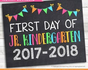 "First Day of Jr. Kindergarten, 2017-2018 School Photo Prop, Pink Rainbow First Day Junior Kindergarten, 1st Day Kinder, Printable Sign 8""x10"