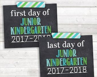 "First and Last Day of Junior Kindergarten, First Day Jr. Kindergarten, 2017-2018, Green Teal First Day, Printable - Digital JPG File 8""x10"""
