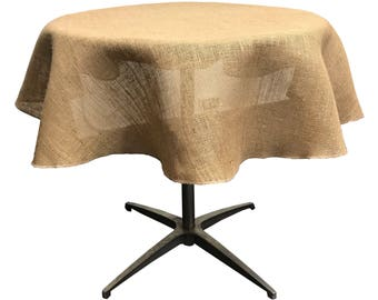 Natural Burlap Tablecloth Overlay 51/58-Inches Round. Made in the USA