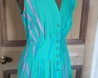 Vintage 1980s Fenno Finland Summer Cotton Dress UK 10