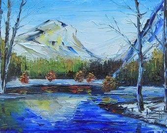 Yosemite Painting, Yosemite National Park, Yosemite Art, California Landscape, Original Oil, Palette Knife, California Art, Mirror Lake, Art