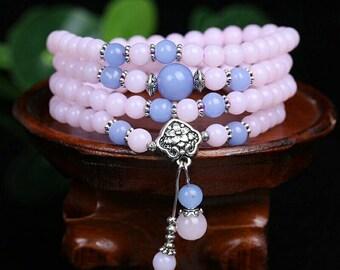 New Fashion 6mm Chalcedony Beads Tibetan Buddhist 108 Prayer Beads Necklace Gourd mala Prayer Bracelet for Meditation FREE Shipping