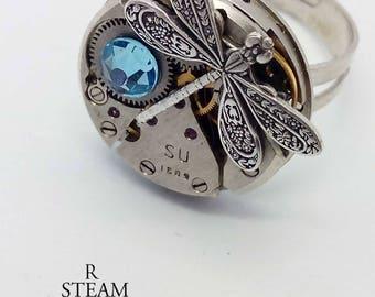 steampunk - steampunk ring - dragonfly - steampunk firefly ring- Febuary birthstone ring - steampunk jewellery - firefly ring - aquamarine