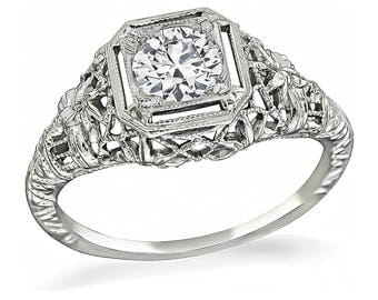 Edwardian GIA Certified 0.72ct Diamond Engagement Ring