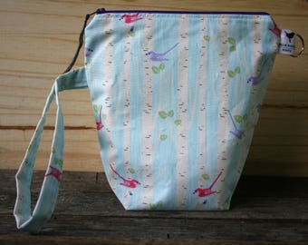 Small Sock Zippered Knitting Crochet Project Bag with Handle Birds