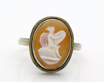 Art Deco Shell Cameo, Angel Playing a Harp, Sterling Silver Ring, Size 8