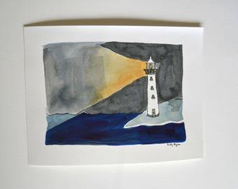 Lighthouse at Night Ink Painting, Nautical Original Art, Beachhouse Decor