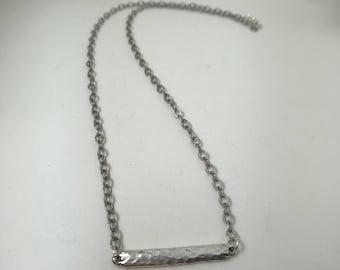 Matte Silver Hammered Link Necklace