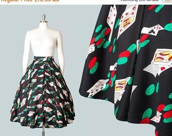 20% OFF SALE Vintage 1950s Style Circle Skirt | 80s Novelty Print Cotton Rayon Casino Cards Vegas Black Skirt with Pockets (medium)