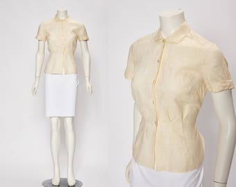 embroidered linen in pale yellow blouse vintage 1950s • Revival Vintage Boutique
