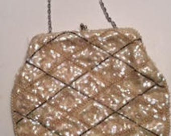 Vintage irridescent sequins pearls and beaded Purse