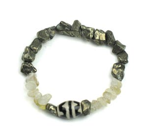 Stretch Bracelet in Grey Pyrite, Earthy Quartz and Black and Cream Dzi Beads / Positive Energy Jewelry