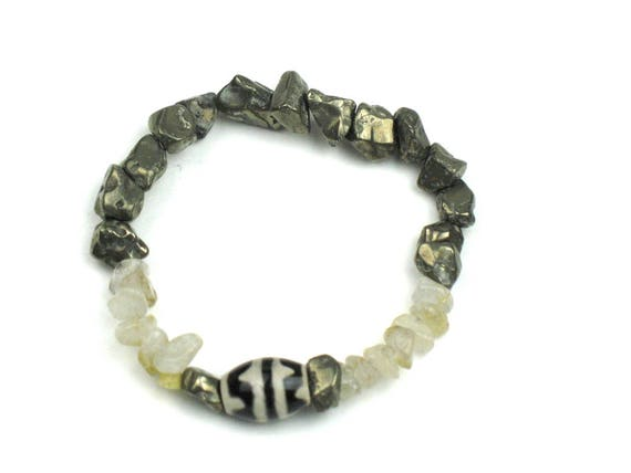Stretch Bracelet in Grey Pyrite, Earthy Quartz and Black and Cream Dzi Beads / Positive Energy Jewelry
