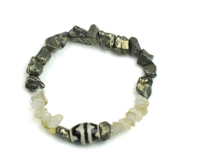 Stretch Bracelet in Grey Pyrite, Earthy Quartz and Black and Cream Dzi Bead / Positive Energy Jewelry