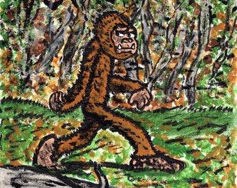 Bigfoot/Sasquatch 6 x 6 Acrylic Painting
