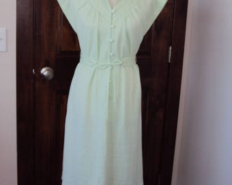 1970s Womens Lime Green Forever Young Polyester Spring/Summer Shift Dress Size Small/ 70s Belted Shift Dress /Mint Green 70s Shift Dress