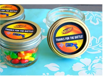 Mini mason Jar Nerf Party Favors, Candy Jar Party Favor, Set of 5