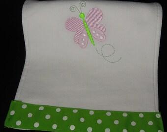 Embroidered Baby Girl Burp Cloth