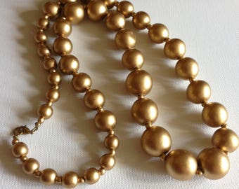 Necklace - Chunky necklace with metallic golden graduated round beads lovely quality