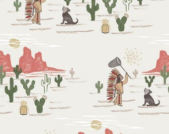 Day Dreaming, Lewis and Irene, quilting cotton, fabric by the yard, nursery prints, desert, animal fabric, Native American, metallic fabric