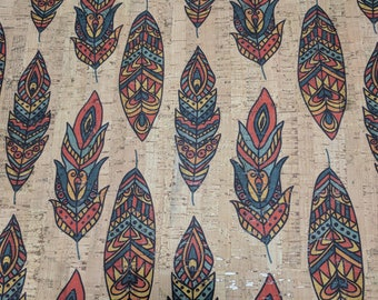 Natural Cork Fabric - Feathers