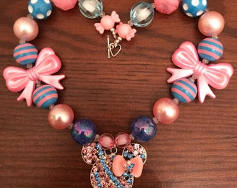 Minnie Mouse with Bow in Light Pink and Blue Bubble Gum Necklace (Child/Toddler)
