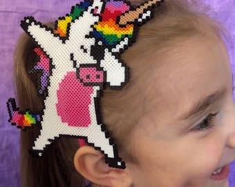 Unicorn Dabbing -  Mini Perler Bead Headband