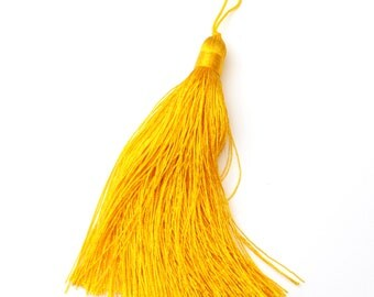 100mm 4 inches Cadmium Yellow Tassel Tassle for Long Spiritual Necklaces and Bead Jewelry