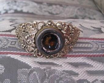 Buried Gold Ceramic Cabachon Cuff Bracelet