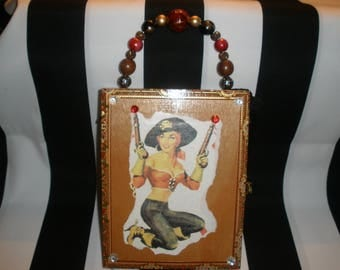 Gasparilla Cigar Box Purse, Pirate Girl, Authentic, Tampa