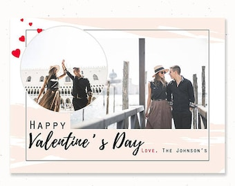 Happy Valentines Day Card, Valentine's Day Card Template for Photographers, Valentine's Day Photo Card, Photography Templates, m201v